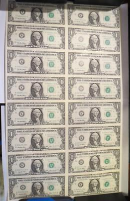 "1993 $1 One Dollar Uncut Sheet of Federal Reserve Notes ""UNC"" 16 Note... Lot 142"