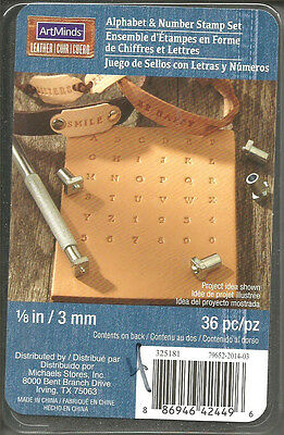 ArtMinds Leather 1/8 in / 3 mm Alphabet & Number Stamp Set