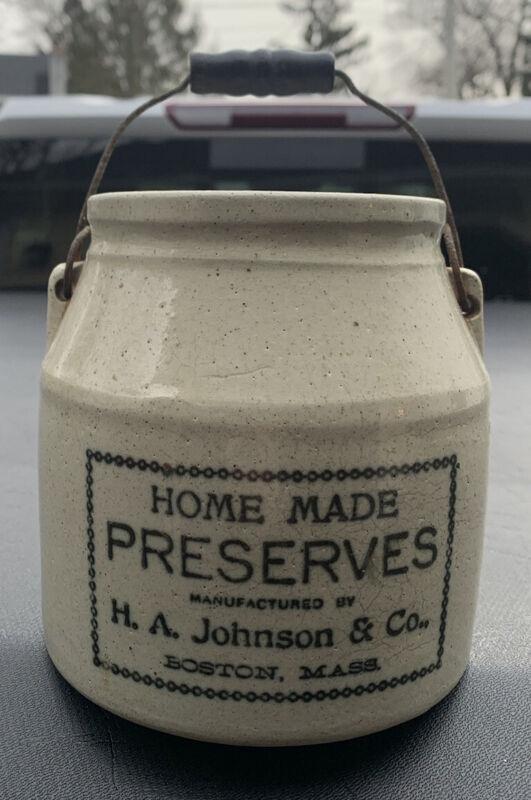 ANTIQUE STONEWARE CROCK JUG PRESERVE H.A. JOHNSON Boston MASS No Cracks