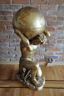 Estilo Antiguo Clásico Globo Atlas Minibar BAR Vino Estante Estatua Escultura