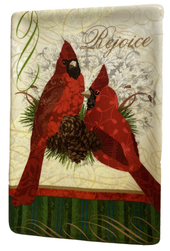 "Cracker Barrell Season of Peace Cardinal Red Bird Rejoice Trinket 6""x4"" Rectang"