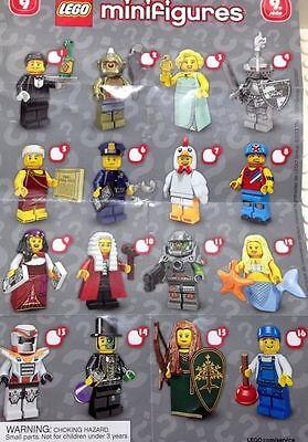 LEGO Minifigures Series 9 Complete Set of 16 minifigures 7100 Waiter Plumber Guy
