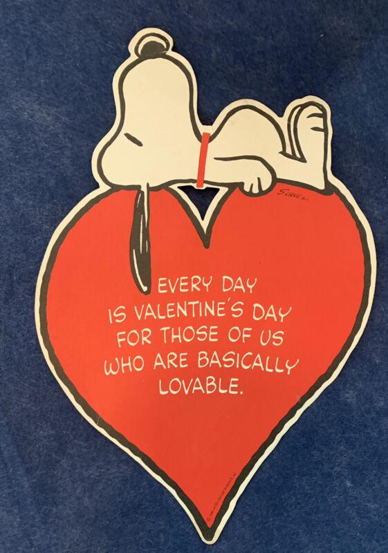 VTG Peanuts Large DIECUT-Valentine Snoopy-Cardboard Heart Card-Schultz 1958 RARE