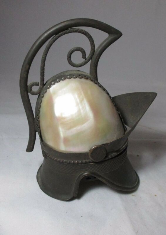 Mother-of-pearl HELMET ETUI with Thimble & needle pack;ANTIQUE c1800