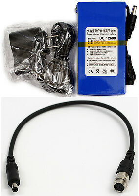 """12 Pin Hirose Power Pack Cable + Battery for 2/3"""" B4 lens, Panasonic GH2 GH3 GH4"""