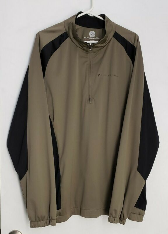 Boy Scouts of America 1/4 Zip Pull Over Olive Jacket Windbreaker Adult 2XL