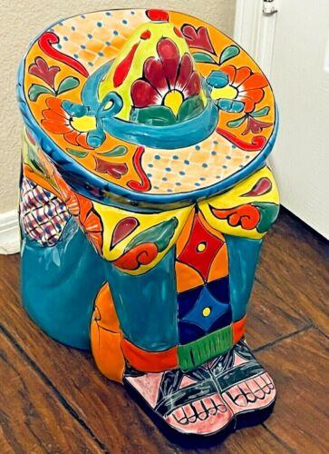 """Mexican Talavera Pottery Sleeping Sombrero Man Boy Pancho Campesino Figure 15"""""""