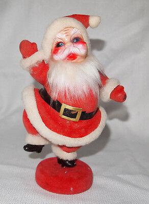 VINTAGE 1940's SANTA CLAUS PLASTIC FIGURINE flocked vintage santa  RETRO !