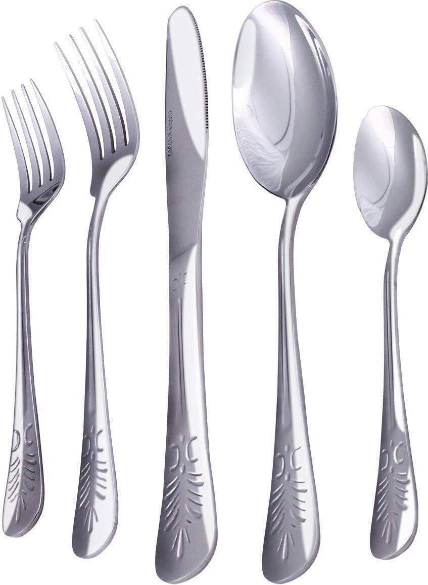 Flatware Set Stainless Steel Silver Cutlery Set Spoon Knife Utopia Kitchen 20 Pc