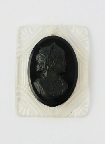 Victorian Art Deco black & clear celluloid oval lady face mourning cameo pendant