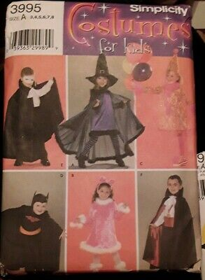 Simplicity Costumes For Kids Sewing Pattern 3995 Size A 3-8 Witch Vampire Uncut