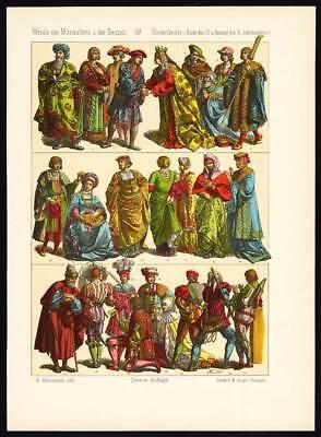 Antique Print-NETHERLANDS-HOLLAND-COSTUME-16th CENTURY-Pl. 59-Hottenroth-1884