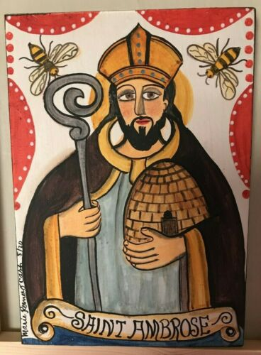 St. Ambrose,  Retablo, Santo, bees, beekeepers, honey, candles, candlemakers