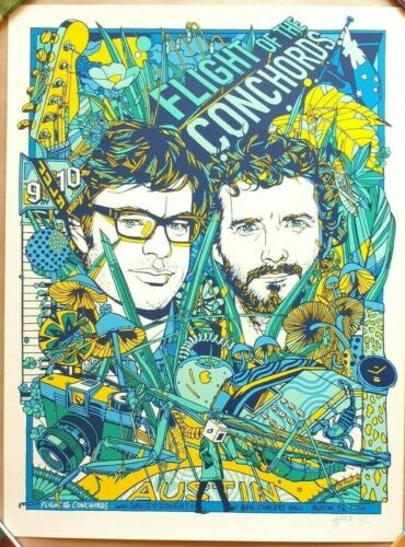 TYLER STOUT - FLIGHT OF THE CONCHORDS Austin TX 2016 Variant Screen Print Poster