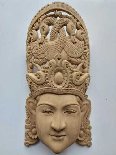 "Sri Lankan Handmade Queen Sawan Mask Wood Carving 14.5"" Wall Hanging Home Decor"
