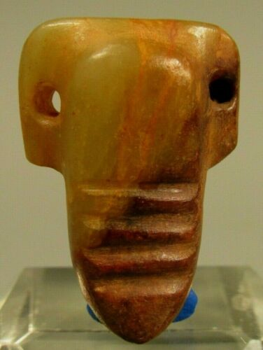 China Chinese Green & Russet Jade Carved Highly Stylized Form Amulet ca 20th c.
