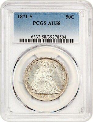 1871-S 50c PCGS AU58 - Liberty Seated Half Dollar - Choice AU!