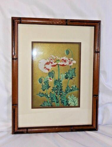 Tangyu Asada Flowers of the Golden Sky Woodblock Gold Poppy Print Framed Japan