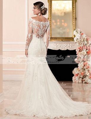 Long Sleeve White Ivory Mermaid Lace Wedding Dress Bridal Gown Custom All Size