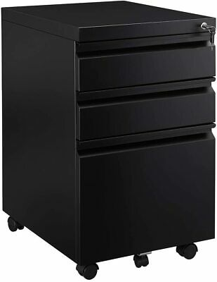 Mobile File Cabinet 3 Drawer Metal Pedestal With Dual Key Locking System Office