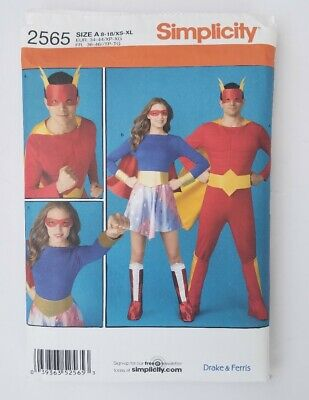 Sew & Make Simplicity 2565 SEWING PATTERN  Adult SUPER HERO COSTUMES Cosplay - Superhero Costume Patterns Adults