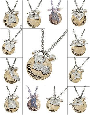 State Charm Necklace Gold Silver Al Ar Ca Ga Ks La Mo Ms Ok Sc Tn Tx Va Nc Ky