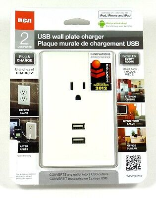 WP2UWR RCA Wall Plate Outlet with 2 USB (White) Charging Port for iphone/ipad Wp2 Wall Plate