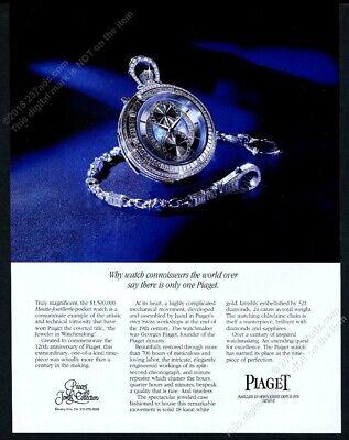 1994 Piaget Haute Joaillerie pocket watch photo vintage print ad