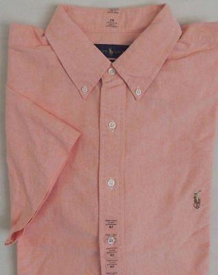 Big Pony Oxford (Ralph Lauren Polo Pony Oxford Short Sleeves Classic Dress Shirt Big Tall Salmon)