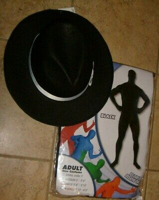 Super Skins Costume (SUPER SKINS BLACK ADULT HALLOWEEN MOVIE COSTUME MEN MEDIUM W/ BONUS HAT!)