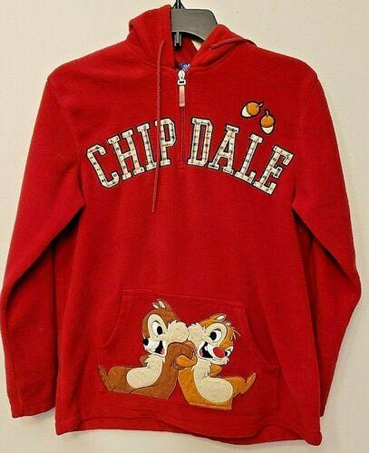 Vintage Disney Chip And Dale 1/4 Zip Red Hoodie Fleece Sweatshirt Size Small