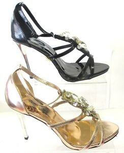 SALE-LADIES-SPOT-ON-DIAMANTE-SANDAL-F1768-BLACK-AND-PINK-GOLD