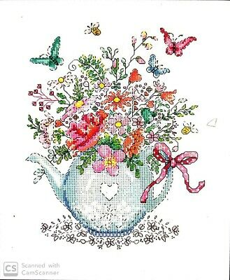 Flowers in Teapot - LG - COMPLETE Counted Cross Stitch Kit NEW - $30 value