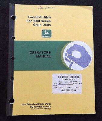 Genuine John Deere Two-drill Hitch For 8000 Serie Grain Drills Operators Manual