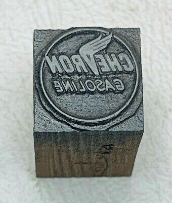 Antique Chevron Gasoline Logo I.p.e.u. Stamped Letterpress Wood Print Blocks