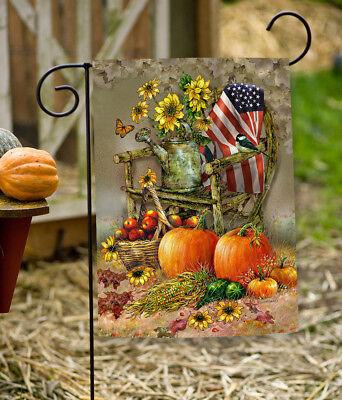 Toland Autumn Chair 12.5 x 18 Patriotic Fall Harvest Pumpkin Garden Flag
