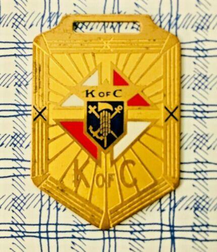 KNIGHTS OF COLUMBUS MEDAL FOB Pendant Vtg K of C Enamel Brass Ribbon Badge Award