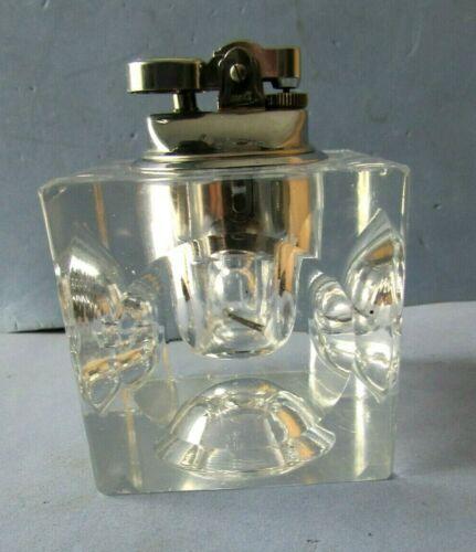 GLASS BLOCK TABLE/DESK  CIGARETTE LIGHTER