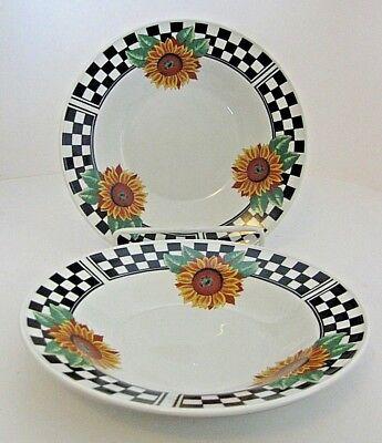Tabletops Unlimited Sunny Large Rim Soup Bowls Black White Check Sunflowers 2Pcs