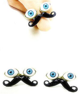 tache mustache & watching eyes ring rings (Biker Moustache)