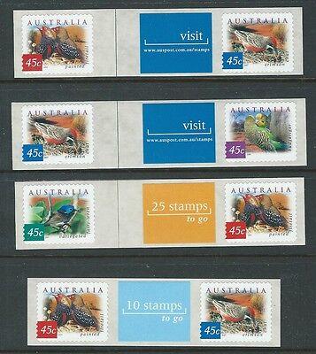 Australien 2001 Wüste vögel 4er Set Etikett Streifen perf 11.5 x 11 un.mint,Mnh ()