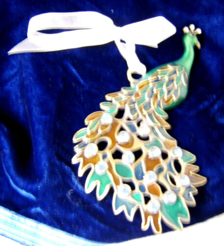 Metal Peacock Turquoise Color Plume Feathers Ornament