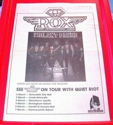 Rox Violent Breed/UK Tour Vintage ORIG 1984 Press/Magazine ADVERT Poster-Size