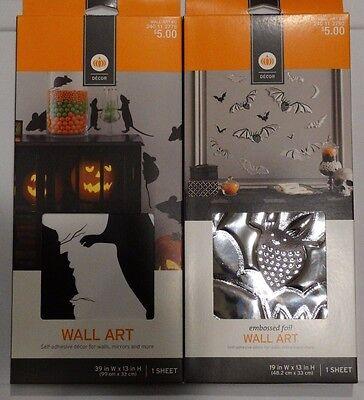 Lot of 2 Halloween Decor Wall Art Embossed Foil Bats & Mice/Rats by Target (Target Halloween Decor)