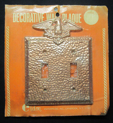 1 New Vintage Patriotic Elden Copper Hammered 2 Gang Switch Plate Cover Eagle