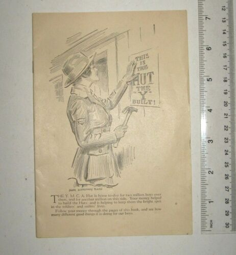 rare vtg 1918 YMCA Y Hut Booklet WWI James Montgomery Flagg cover Louis Ruyl art
