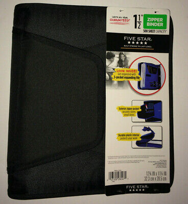 Five Star Black Zipper Binder One And A Half Inch 500 Sheet Capacity New