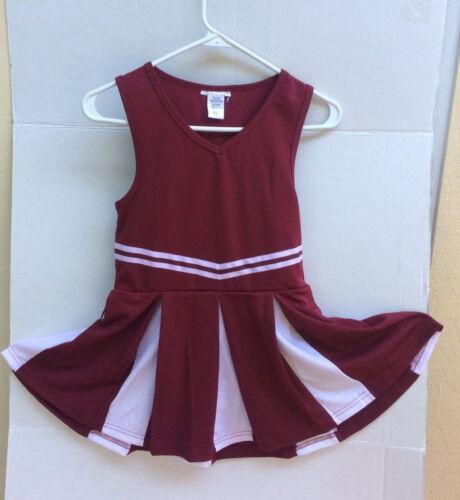 cheerleading uniform dress printable girls maroon/white size small NEW! *read*
