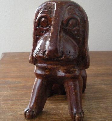 "VTG Carved Wood Dog Folk Art Bloodhound Coonhound Bassett Medium Dark Tone 5.5"""