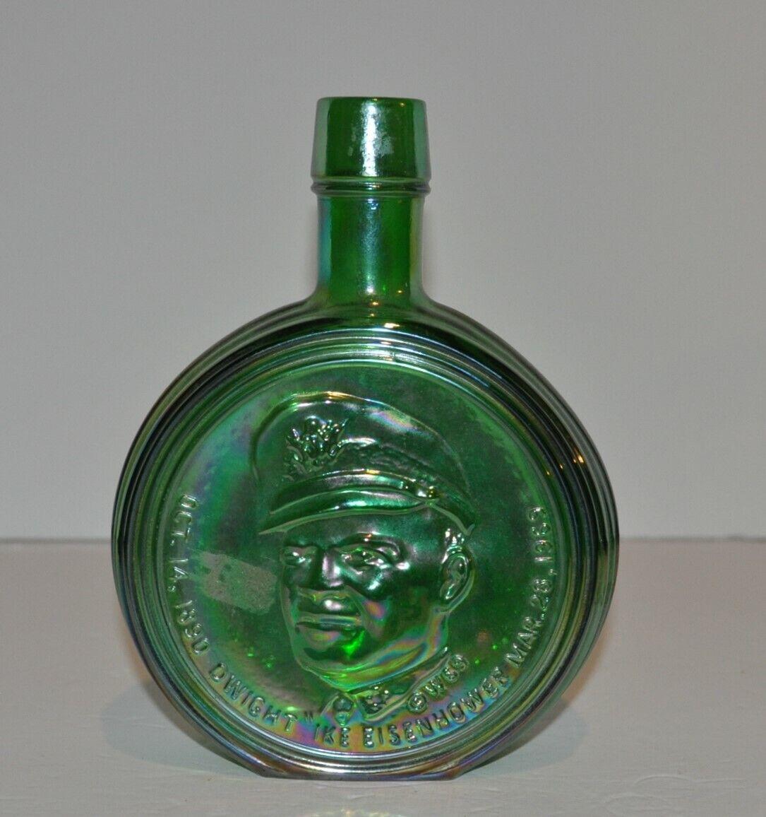"Vintage Wheaton Green Carnival Glass Iridescent Bottle Dwight ""Ike"" Eisenhower"